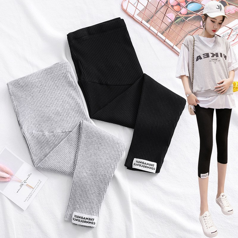 Cotton Blended Thread Capris Outer Wear Fashion Mom Pants Outer Wear Thin Leggings for Pregnant Woman Summer Wear Pants