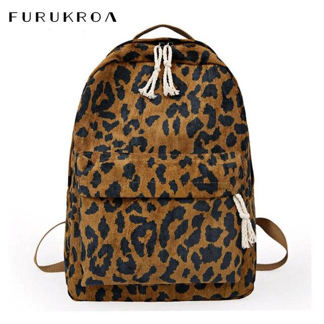 Модный женский рюкзак с леопардовым принтом, вельветовый дорожный рюкзак с двумя ремнями, вместительный школьный рюкзак на плечо для девочек, XA587WB