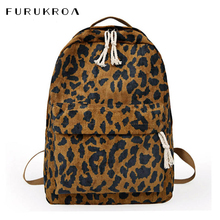 Fashion Female Backpack Leopard Print Corduroy Dual Straps Woman Travel Backpack Large Capacity Girl School Shoulder Bag XA587WB