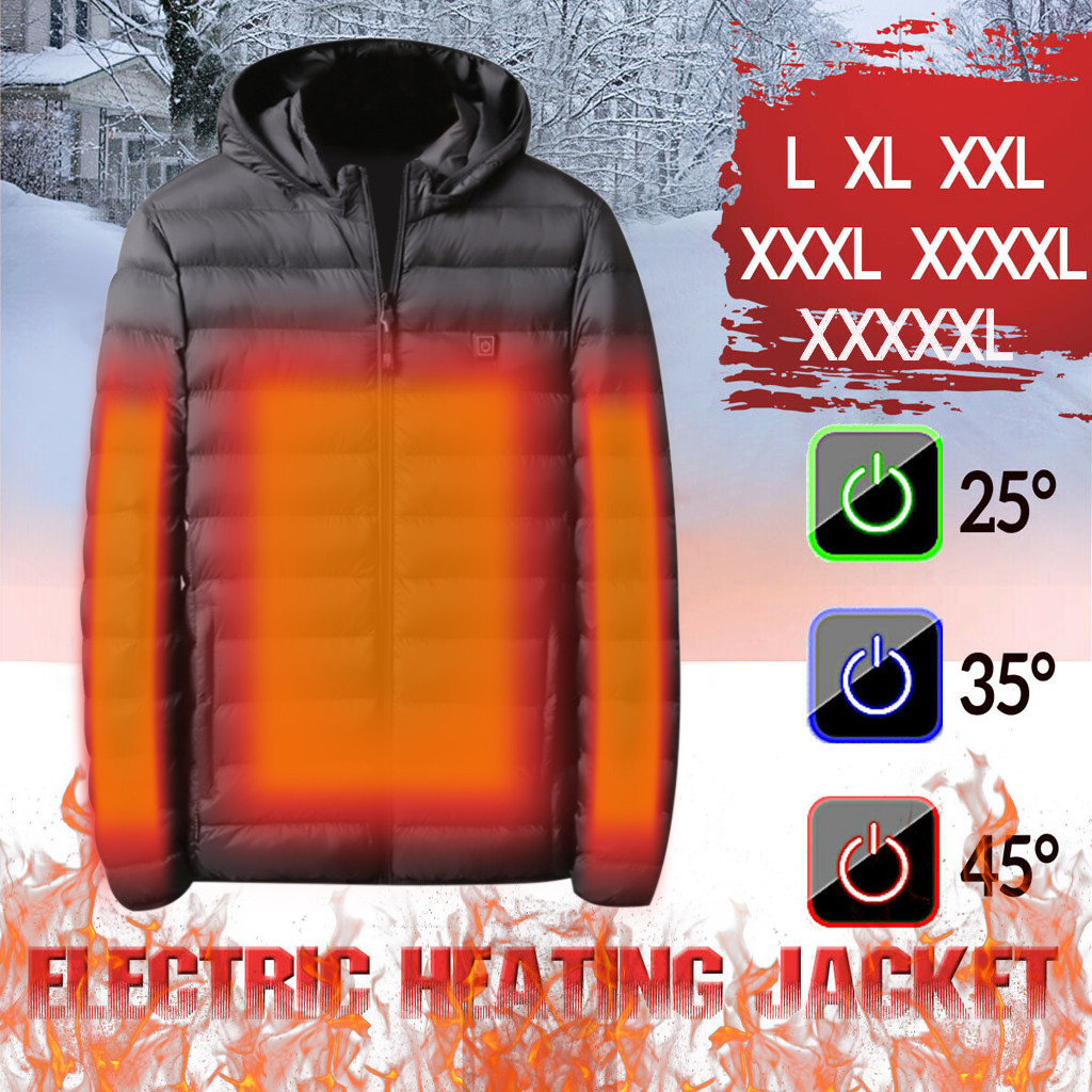 Men Heated Coat USB Electric Battery Long Sleeves Heating Jacket Heating Vest Warm Winter Thermal Skiing Hiking ThermalCoat