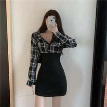 Винтажное клетчатое платье рубашка qweek женское летнее корейское