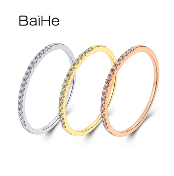 BAIHE Solid 14K White/Yellow/Rose Gold 0.04ct Round Natural Diamonds Match Ring wedding band Women Trendy Fine Jewelry Row ring
