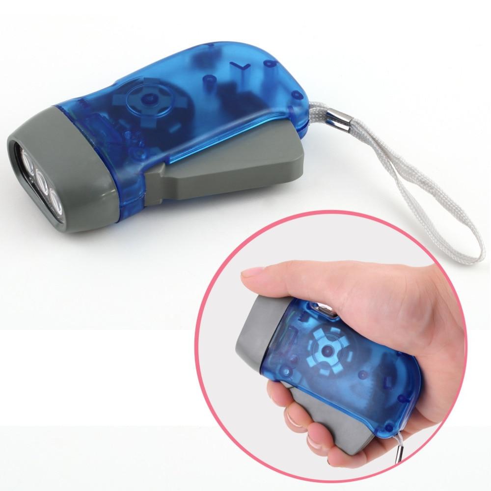 3 LED Dynamo Wind Up Flashlight Torch Light Hand Press Crank NR Camping KW