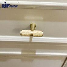 Poignée de meubles HJY T Bar boutons en or poignées moletées simples pour armoires et tiroirs poignées de porte de garde-robe A155