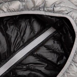 Image 4 - Newbang jaqueta masculina com capuz puffer ultra leve para baixo jaqueta masculina outono inverno duplo lado pena reversível parka