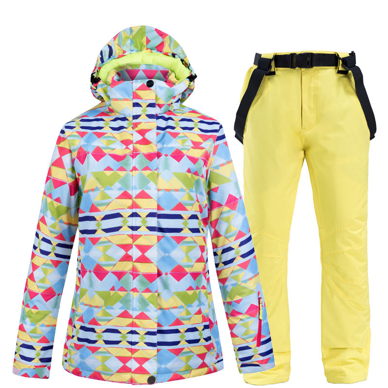 Cheap Adult Women Snow Suit Sets Snowboarding Costume Waterproof Windproof Breathable Female Ski Jackets + Suspended Snow Pant