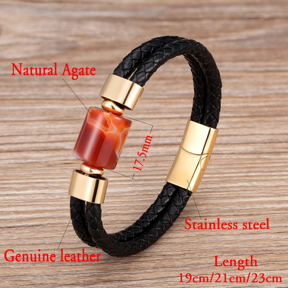 2020 new punk Bracelet Men Charm Genuine leather Stainless steel magnet Jewelry 7 Style Natural Stone beaded bracelets mens Gift