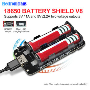 Image 1 - Dual 18650 Lithium Batterie Schild V8 3V1A 5V 3A Micro USB Power Bank Batterie Lade Modul Für Raspberry Pi wifi ESP8266 ESP32
