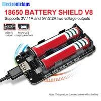 Dual 18650 Batteria Al Litio Scudo V8 3V1A 5V 3A Micro USB di Ricarica Della Batteria Modulo Accumulatori E Caricabatterie Di Riserva Per Raspberry Pi Wifi ESP8266 ESP32
