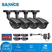 SANNCE 4PCS 1080P กล้องรักษาความปลอดภัยกล้องวงจรปิด 2.0MP กลางแจ้งการเฝ้าระวังวิดีโอหน้าแรกระบบกล้องวงจรปิด