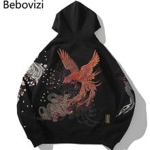 Bebovizi Chinese Dragon Tiger Phoenix Tortoise Embroidery Black Hoodie Men Harajuku Streetwear Pullover Sweatshirt Japan Style