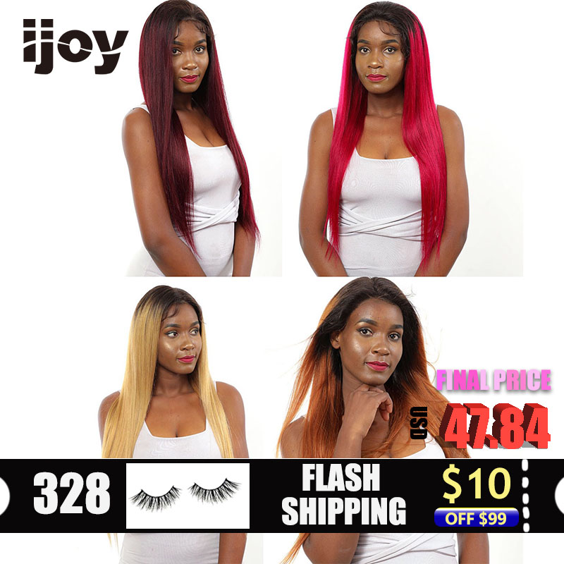 Straight Ombre Colored Burgundy Lace Front Human Hair Wigs Pre-plucked 13*4 Frontal Red Cosplay Brazilian 30inches Non-Remy IJOY