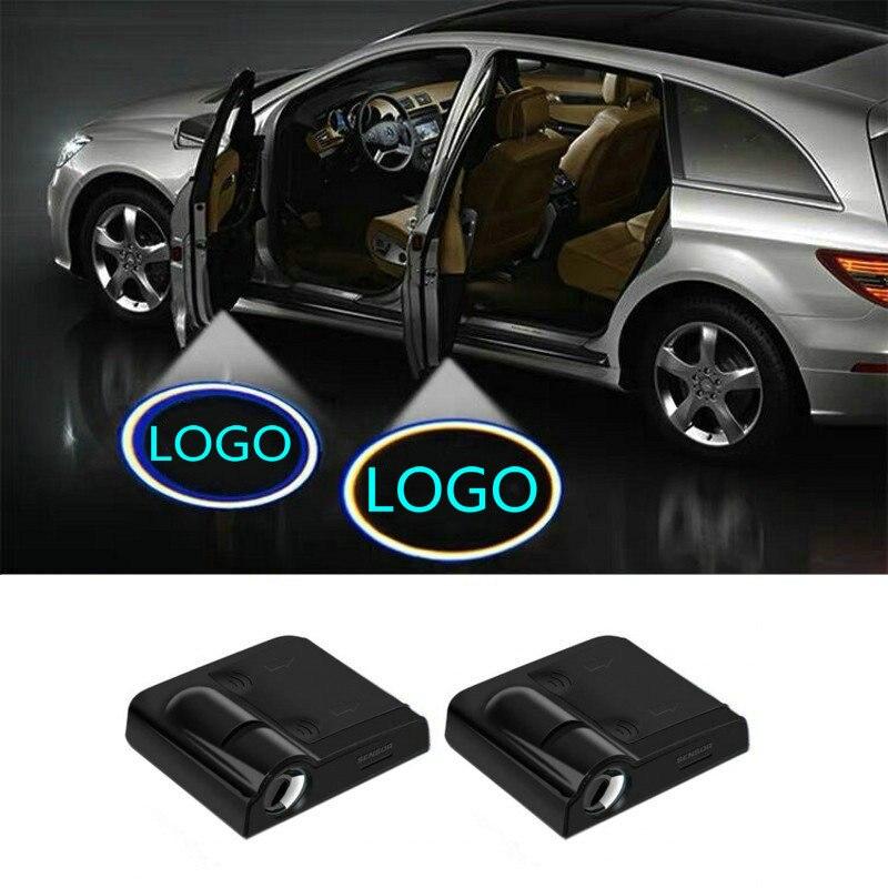 2pcs LED Car Door Light Projector Logo For Hyundai ix35 i30 i20 i40 Tucson Mistra Veloster Sonata Elantr Kona Hybrid Ioniq Santa