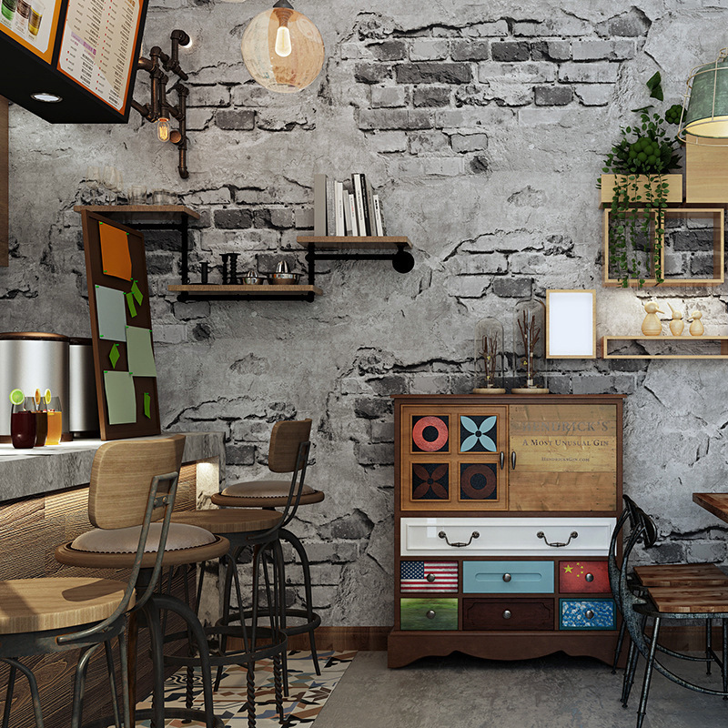 Brick Pattern Wallpaper Brick Retro Nostalgic Gray Cement Brick Wall Industrial-Style Loft Vintage Wall Wallpaper