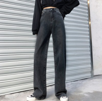 Red Star Network Wide-Leg Jeans Women's 2019 New Style Loose-Fit High-waisted Hyuna Mopping Dad Pants