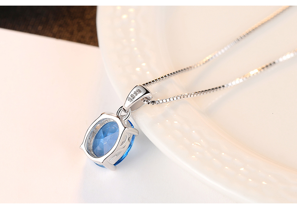 Hbadf566460b845a1ad6b888ad5ec1442O CZCITY Sky Blue Topaz Stone Pendant 2.3 Carat Oval Shape Solitaire Natural Topaz 925 Sterling Silver Chain Necklace for Women