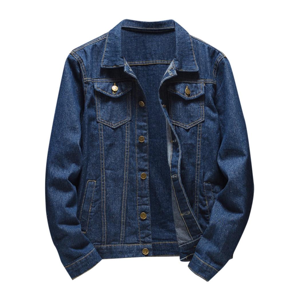 Denim Jacket Men Autumn Winter Casual Long Sleeve Turn-down Collar Solid Denim Jacket Coat Jaqueta Jeans Masculina Chaqueta 2019
