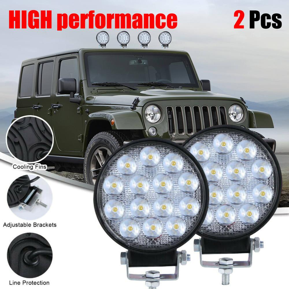 2pcs Round 140W LED Work Light 12V 24V Car Light Bright Beam Off-Road Flood 9000lm IP68 Waterproof Spot Light SUV DRL Fog Lamp