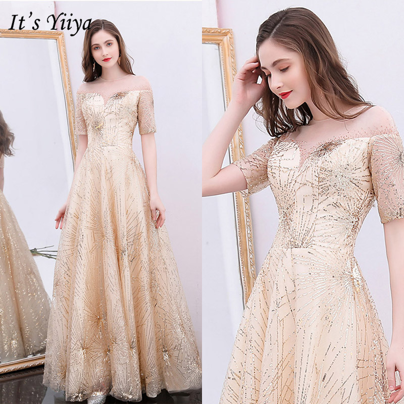 It's Yiiya Evening Dress 2019 Short Sleeve Backless Zipper Sequins A-Line Dreses Elegant O-Neck Long Party Formal Dresses E1040