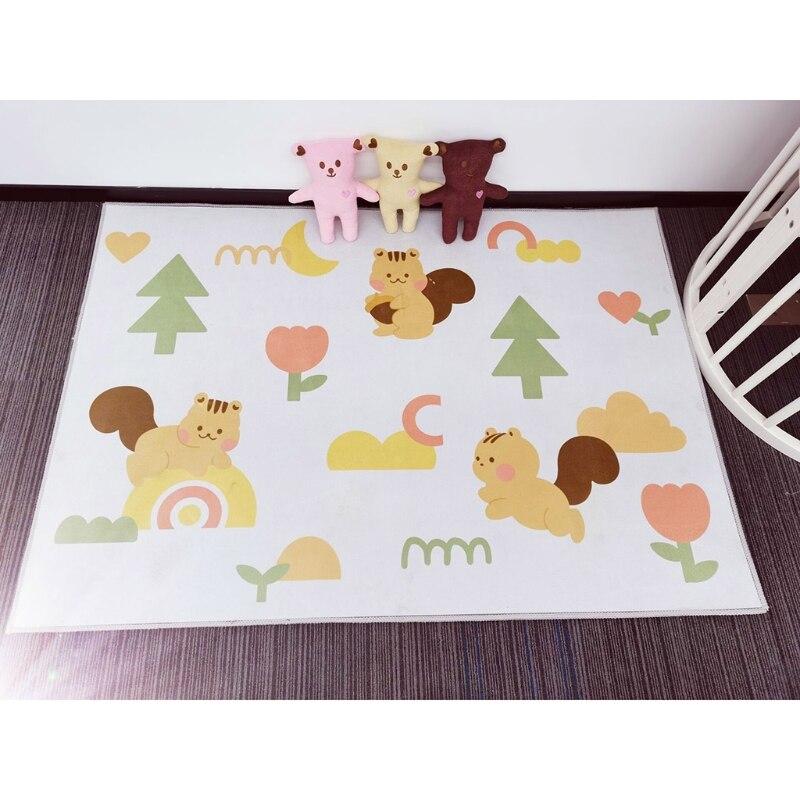 Baby Play Mat Crawling Carpet Kids Floor Rug Cartoon Squirrel Printed Playmat Q9QB