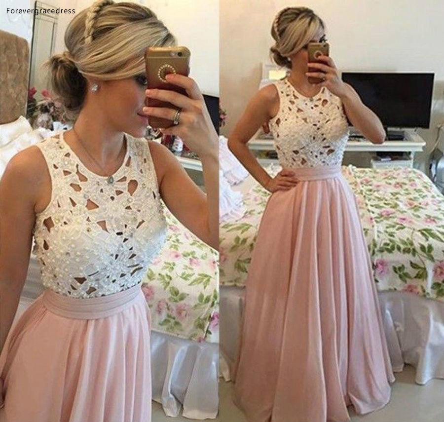 2019 Pink Lace A Line   Prom     Dress   Long Holidays Wear Graduation Evening Party Gown Custom Made Plus Size