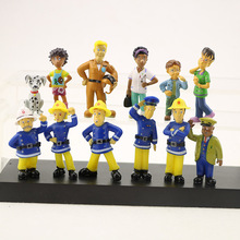 12pcs/set Cartoom Fireman Sam Characters Action Figure PVC Room Decoration Collection Mini Model Dolls Kids Gifts Toys