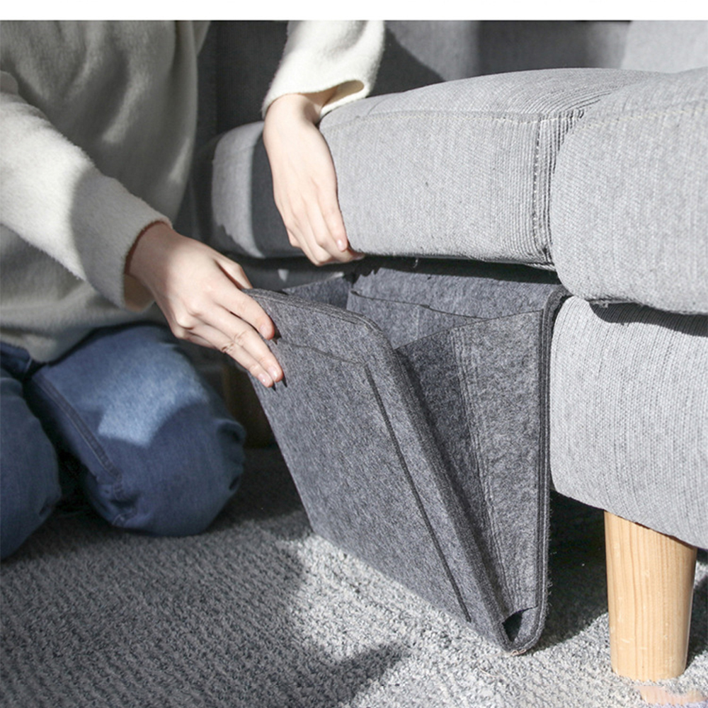 Bed Storage Bag <font><b>Pocket</b></font> Felt Bedside Hanging Storage Organizer Dorm Room Book Magazine TV <font><b>Remote</b></font> Caddy Bunk Holder <font><b>For</b></font> Table <font><b>Sofa</b></font> image