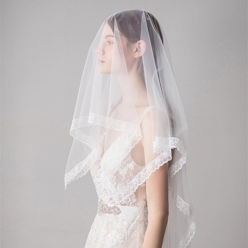 Women Rectangle Wedding Bridal Veil Lace Edge Elegant Long Fingertip Veil Ivory Wonderful One-layer Tulle Headpiece Accessory