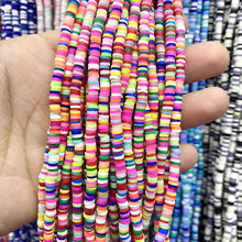 4mm multi colors flat round handmade polymer clay beads chip