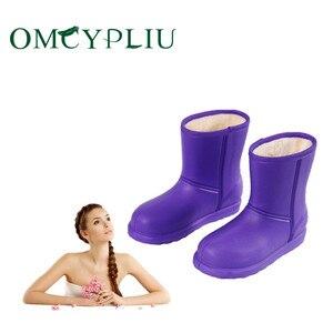 Image 2 - Bottes de neige femme 2019 hiver femmes bottine imperméable grande taille plat pluie chaussons garder au chaud dames chaussures coton Botas mujer