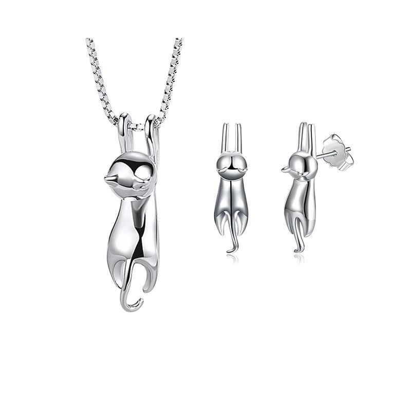 Elegante 925 Sterling Silber Nette Katze Schmuck Set Halskette Und Ohrringe Hochzeit Braut Schmuck Sets für Frauen