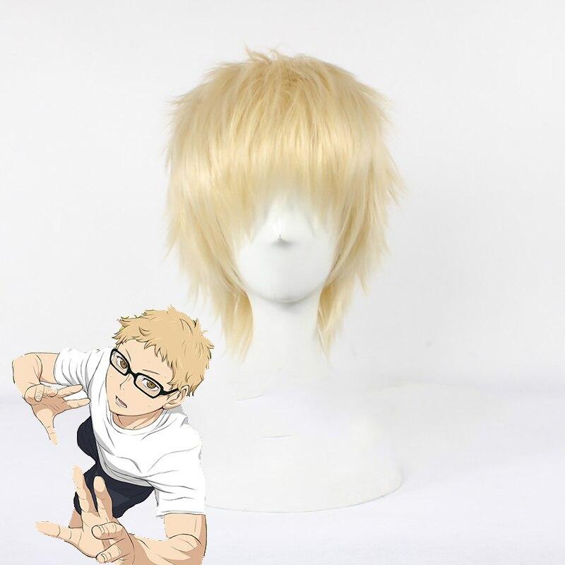 Haikyuu Kei Tsukishima Short Light Blonde Wig Cosplay Costume Heat Resistant Hair Peruca Anime Party Wigs Aliexpress