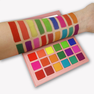 Image 3 - 여름 다채로운 아이 섀도우 팔레트 매트 18 색 쉬머 블렌드 블 브라이트 아이 섀도우 팔레트 실키 파우더 안료 메이크업 키트