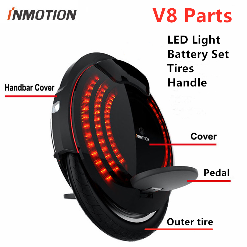 Original INMOTION V8 Unicycle Scooter Accessories Body Shell Protect Cover Adjustable Handle Pedal Sticker Inner Tires LED Parts