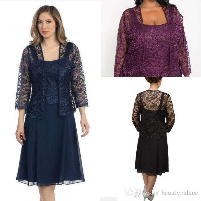 Sexy Navy Blue Mother's Lace Mother Of The Bride Dresses With Jacket Long Sleeves Knee-Length Plus Custom Evening Party Gowns