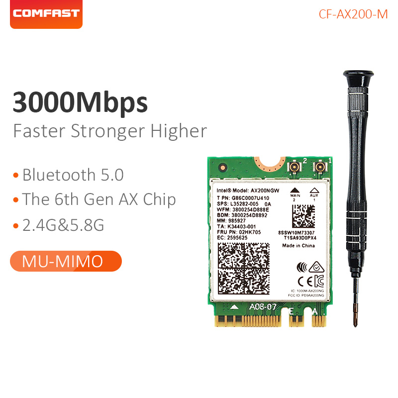 Comfast Network Card 2.4G/5G Dual Band 2974Mbps High Speed 802.11 AX /AC Wireless Wifi 6 AX200-M Wifi Bluetooth 5.0 AX200-M