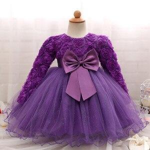 Image 4 - 長袖幼児女の子のドレスのレースの花のための洗礼ドレス女の子初年度誕生日結婚式ベビー服