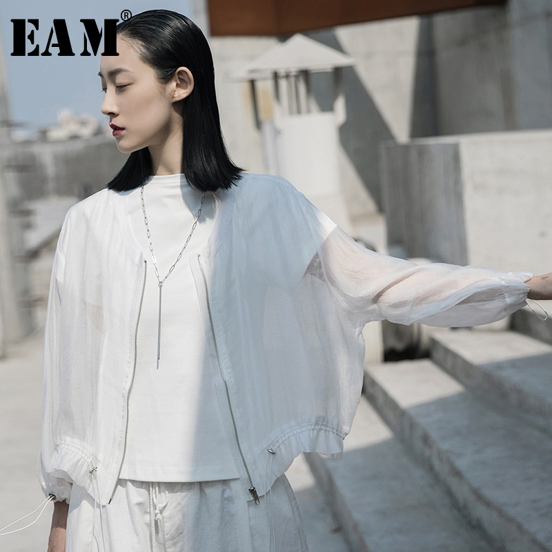 [EAM] Loose Fit  White Perspective Big Size Short Jacket New Stand Collar Long Sleeve Women Coat Fashion Tide Spring 2020 1W035