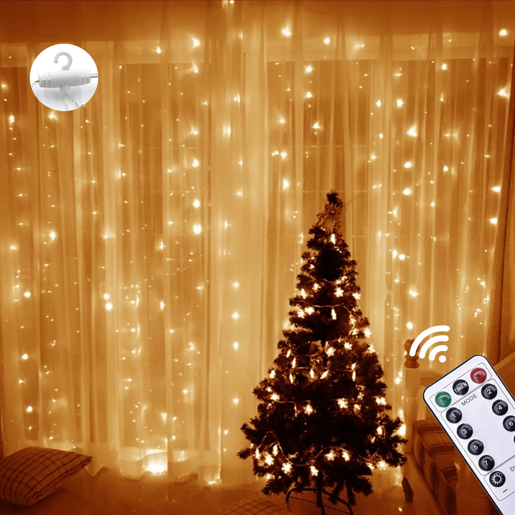Chirstmas Curtain Icicle String Light Fairy Light 300 LED Window Wedding Party Home Garden Outdoor Indoor Wall Decoration 3X3M