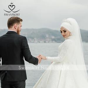 Image 3 - Luxury Muslim Appliques Wedding Dress Swanskirt AZ01 Vintage Princess Ball Gown Long Sleeve Satin Bridal gown Vestido de noiva