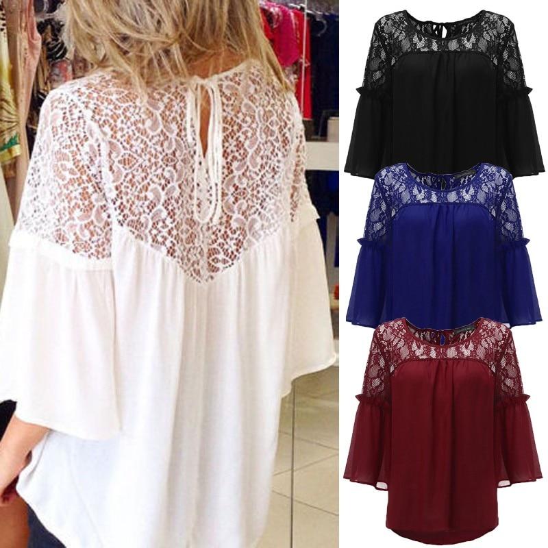 Fashion Women's Lace Stiching Blouse ZANZEA 2020 Backless Summer Shirts Flare Sleeve Shirts Female Lace Up Blusas Plus Size 5XL