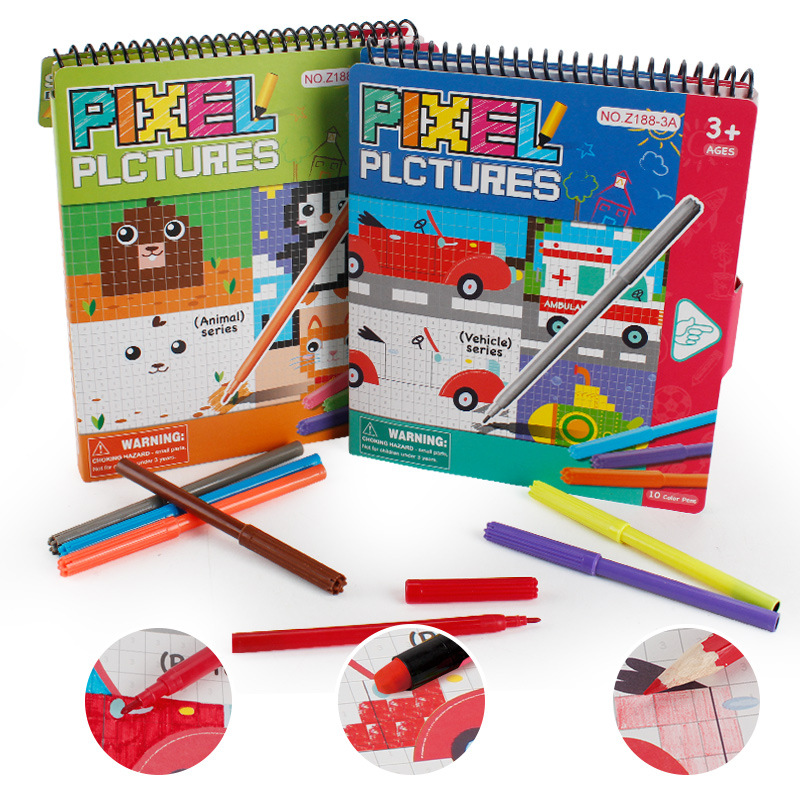 2019 New Baby Pixel Coloring Pictures Book Children Mosaic Painting DIY Filling Painting Graffiti Cards Early Learning Toys Gift in Drawing Toys from Toys Hobbies