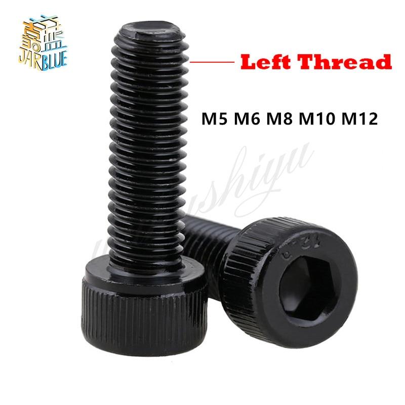 3pcs M10x35mm 12.9 Grade Hex Socket Cap Left Hand Thread Screw Bolt Black