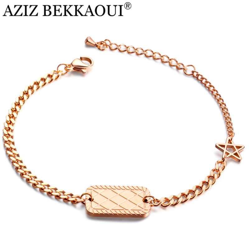 Aziz Bekkaoui Cá Tính Nữ Trang Sức Hoa Hồng Vàng Khắc Tên Nữ Thép Không Gỉ Ngôi Sao Vòng Tay Tùy Chỉnh Tình Bạn Trang Sức