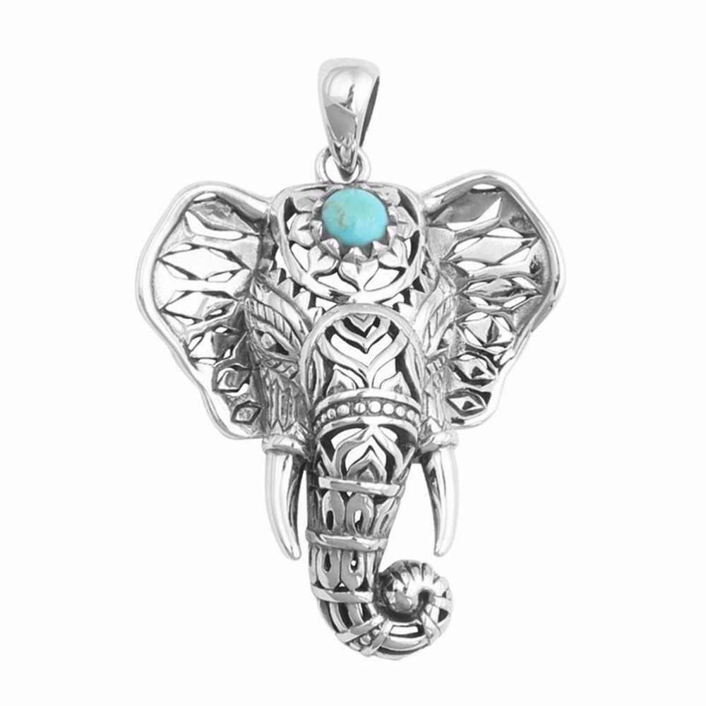 Etnico Verde Elefante di Pietra Della Collana Del Choker Antico Collane Delle Donne di Fascino Dell'annata Pendenti Con Gemme E Perle Catena Regalo Di Natale