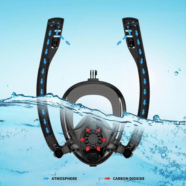 NEW Double Tube Diving Mask Scuba Mask Underwater Anti Fog Full Face Snorkeling Mask Women Men Kids Swimming Snorkel Equipment 4