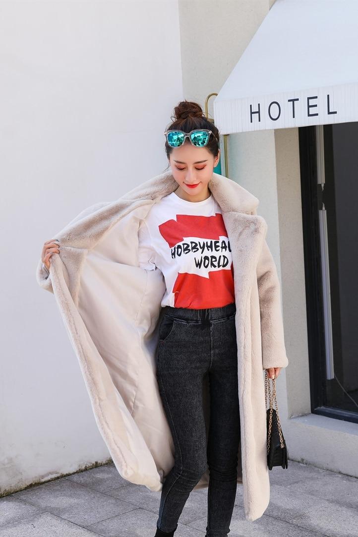 Зимняя новинка Женская мода Стиль чистый цвет теплый толстый искусственный мех кролика пальто XHSD-426 - Цвет: Apricot