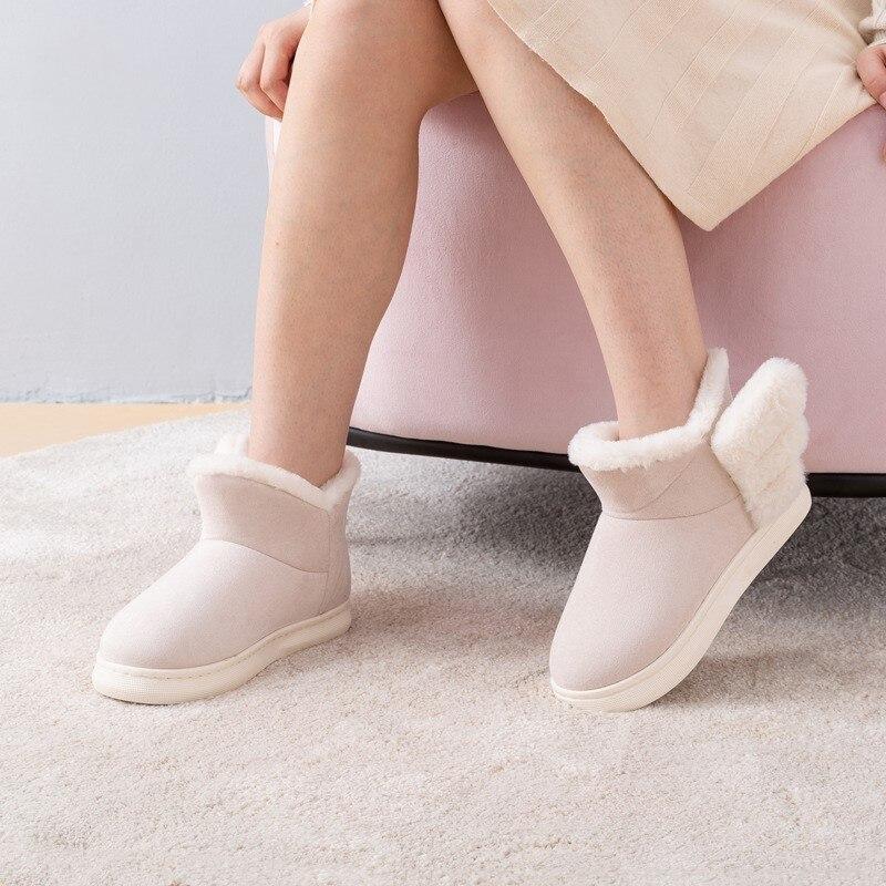 Suihyung/зимние женские ботинки; теплая Домашняя хлопковая обувь из плотного флиса; ботильоны с рисунком крыльев; женские ботинки без шнуровки ...