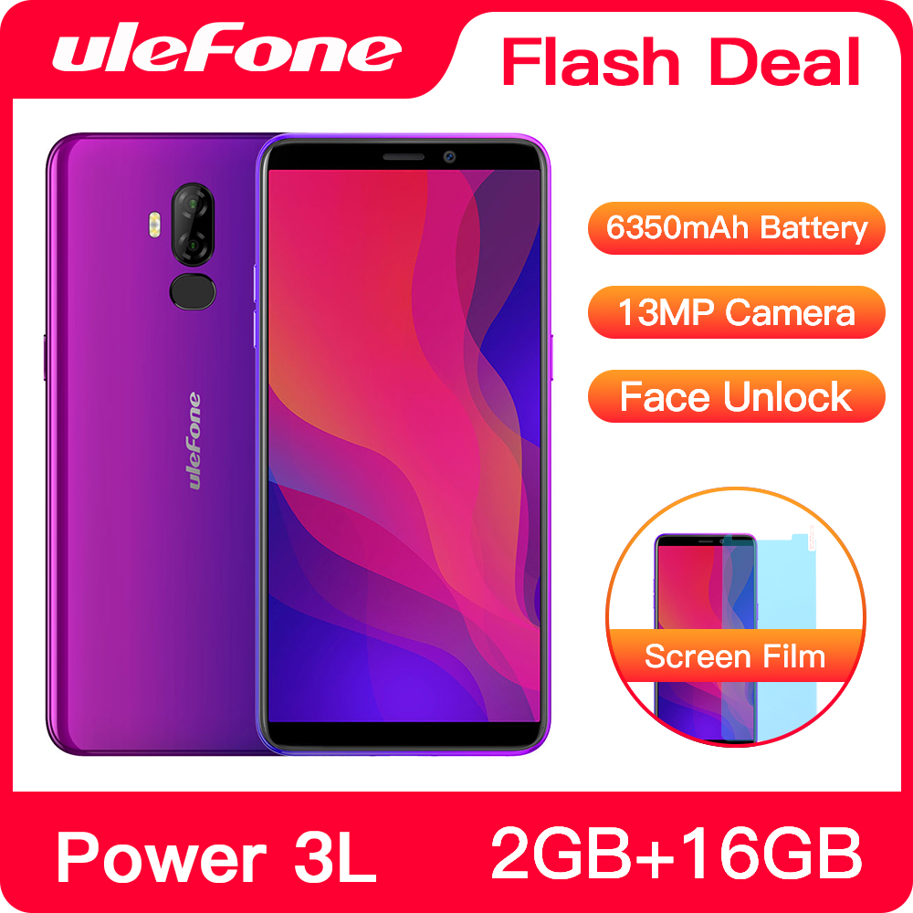 Ulefone Power 3L 6.0 HD+ Android 8.1 Mobile Phone MTK6739 Quad Core 2GB+16GB NFC 13MP+5MP Camera 6350mAh Face ID 4G Smartphone  - buy with discount