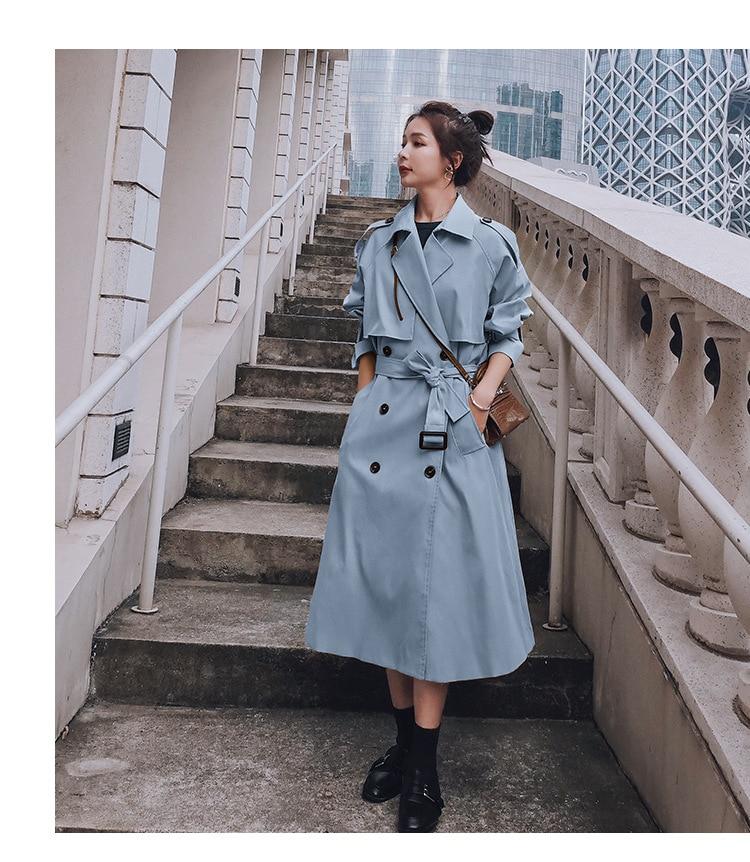 Hbae17a1cb7c44175ac3442b12f8bef97n 2021 Autumn Women Trench Coat With Belt Women Clothes Blue Coat Casaco Feminino Harajuku Abrigo Mujer Long Trench Femme